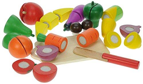 27 teiliges Holzspielzeug Set Holz Obst Gemüse zum schneiden mit Messer und Schneidebrett - perfekt für Spielküche oder Kaufladen