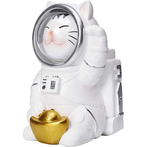Fikujap 6.5 'Estatuas Decorativas de Resina, mscara Espacial Gato con lingoteo de Oro Escultura Creativa Pequea estatuilla Coleccionable para decoracin de Oficina Adorno Accesorios de Escritorio