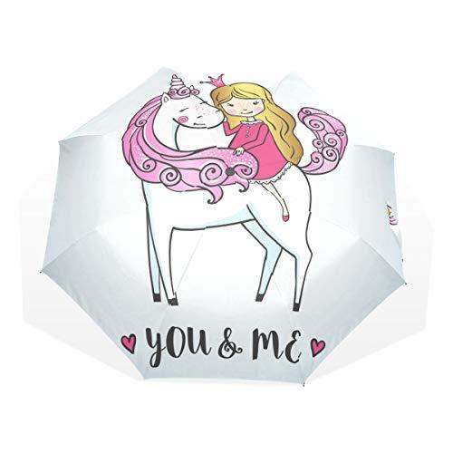 ISAOA Paraguas de Viaje automático, Paraguas Plegable para niña en un Bonito Unicornio Resistente al Viento, Ultraligero con protección UV, asa compacta para fácil Transporte para Mujeres y Hombres