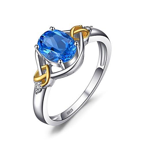 JewelryPalace Liebe Knoten 1.5 ct Natürlichen Schweiz Blau Topas Edelstein Diamanten 925 Sterling Silber Mit 18K Gelbgold Ring Schmuck Für Frauen