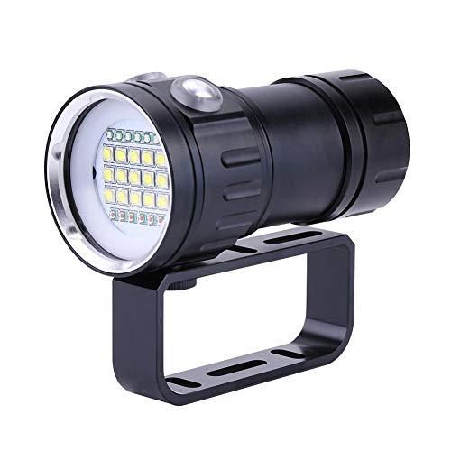 Weiyiroty Linterna de Buceo, 18000 Lumen IPX8 Scuba Dive Lights 500M Linterna SubacuáTica LED, Brillo Y Modo de IluminacióN Ajustados, para Deportes al Aire Libre Bajo el Agua, Negro.