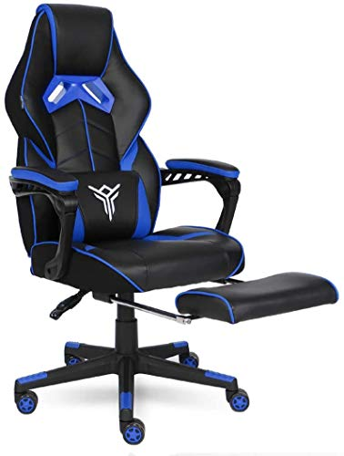 ELECWISH Gaming Chair Ergonomic High Back Racing Style with Adjustable Armrest and Retractible Footrest PU Leather Back Recliner Swivel Rocker Office Chair(2020) Blue