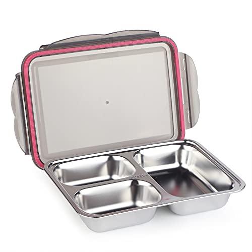 WELTRXE Boîte Repas Étanche en Acier Inoxydable avec 3 Compartiments, Lunch Box sans BPA avec Couvercle pour Travail, Ecole, Pique-Nique