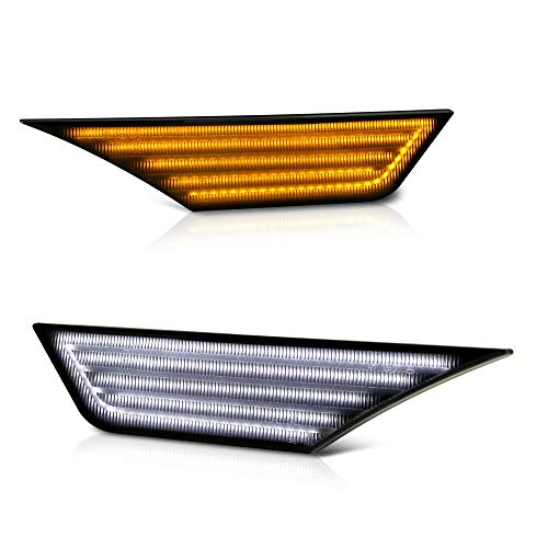[Switchback + Sequential Turn Signal] VIPMOTOZ Full White & Amber LED Smoke Lens Front Side Marker Turn Signal Light For 2016-2020 Honda Civic, Driver & Passenger Side