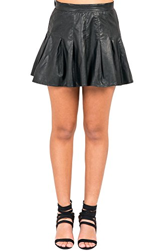 Poetic Justice Curvy Women's Black Vegan Leather High Waist Pleated Mini Skirt Size XL