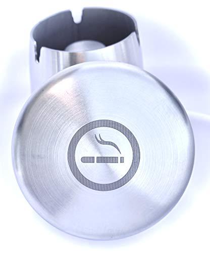 Auroni Aschenbecher in Edelstahl gebürstet mit Logo Sturm-Wind robust mit Deckel geruchsdicht Wind-Regen-dicht rutschfest für Zigaretten-Reste und Asche in Garten Bar Büro