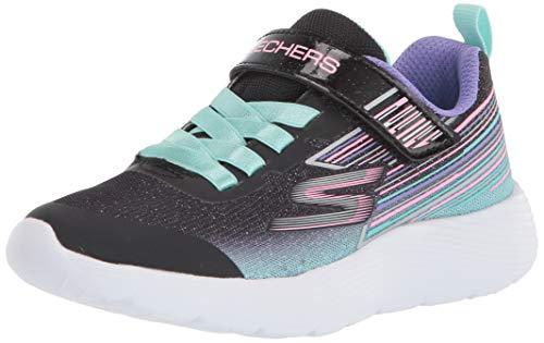 Skechers DYNA-LITE Sneaker, Schwarzer glitzernder Netzstoff, 35.5 EU