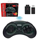 Retro-Bit Sega Genesis 2.4 GHz Wireless Controller 8-Button Arcade Pad for Sega Genesis Original/Mini, Switch, PC, Mac – Includes 2 Receivers & Storage Case - Shadow
