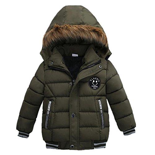 K-youth® Ropa Niño Invierno Sudadera con Capucha Abrigo De Algodón Engrosamiento Chaqueta (Verde, 5 años)
