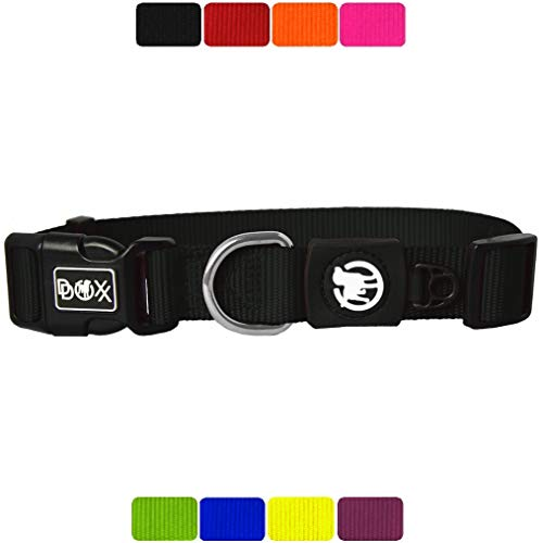 DDOXX Hundehalsband Nylon, verstellbar | viele Farben & Größen | für kleine & große Hunde | Halsband Hund Katze Welpe | Hunde-Halsbänder breit | Katzen-Halsband klein | Schwarz, S