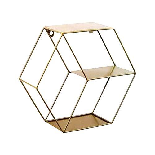 Estantería de pared de hierro hexagonal Estantes Flotantes de Pared colgar en la oficina, café, tienda de café, decoración de pared, color dorado