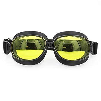 FOXCID Wwii Raf Vintage Pilot Motorcycle Biker Cruiser Helmet Black Goggles Amber Lens