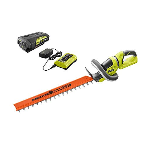 RYOBI RY40620 24 in. 40-Volt Lithium-Ion Cordless Hedge Trimmer with 2 Ah Battery and Charger Included
