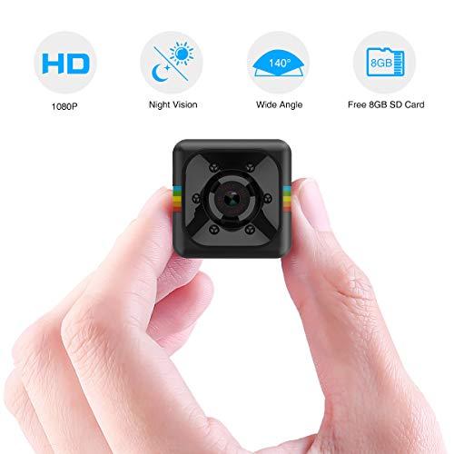 Mini Cámara Espía Oculta Mini Cámara de Vigilancia con Tarjeta SD de 8GB, 1080P HD Grabadora de Video Portátil Camaras de Seguridad con Detección de Movimiento IR Visión Nocturna Interior/Exterior