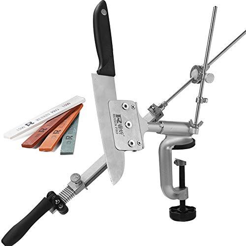 KKmoon Fixwinkel Messerschärfer,Edelstahl Küche Schleifstein Schleifmaschine mit 4 PCS Steine(120#, 320#, 600#, 1500#)