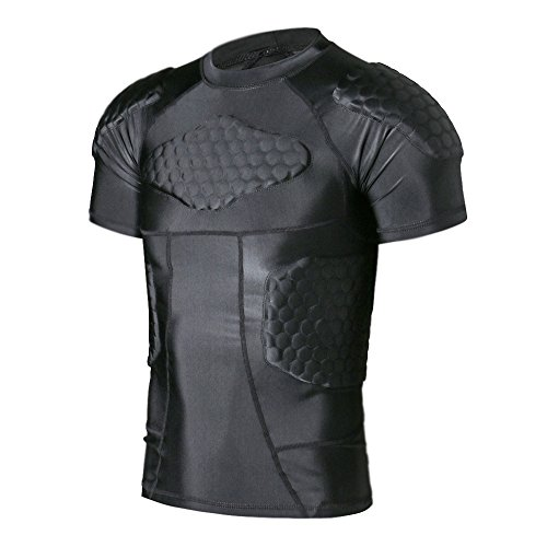 DGXINJUN Men Padded Compression Shirt Sports Short Sleeve Protective T-Shirt Shoulder Rib Chest Back Protector Pads Support Shirt for Adult Football Basketball Paintball Rugby Training
