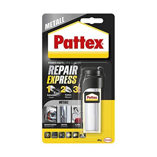 Pattex Powerknete Repair Express Metall, metallfarbene Modelliermasse zum Kleben & Reparieren, Epoxidharz Kleber für viele Materialien, überstreichbare Knete, 1 x 48g