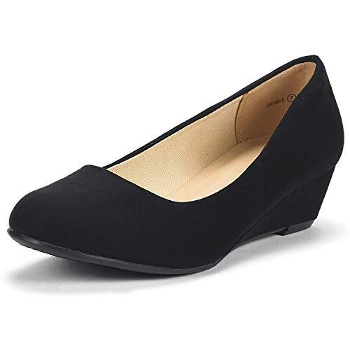 DREAM PAIRS Women's Debbie Black Suede Mid Wedge Heel Pump Shoes - 9 M US