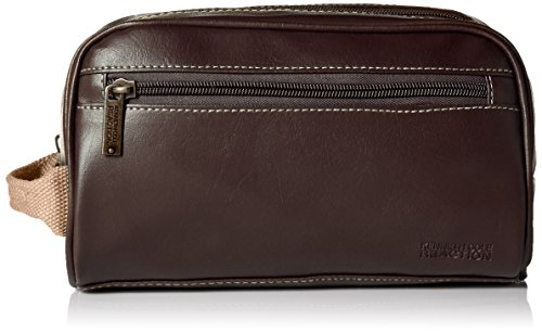 Kenneth Cole Men's Top Zip Single Compartment Travel Kit with Contrast Stitch Detail, Brown, One Size