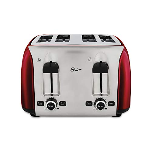 Oster 4 Slice Red Toaster with extra wide slots for bagels