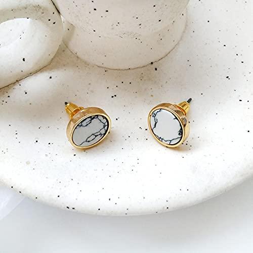 FEARRIN Pendientes Anillos de Moda para Mujer Joyería Minimalista Restauración de Formas Antiguas Pendientes Naturales Redondos Pendientes Geometría Blanco