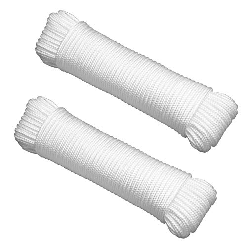 """Gardzen 2-Pack 100' x φ1/4"""" Polypropylene Rope Sollid Braided Poly Rope Rope - for Multiple Usages, Flagline, Clothesline, Camping Tent, Canoes, Tree Work, Knot and Tie"""