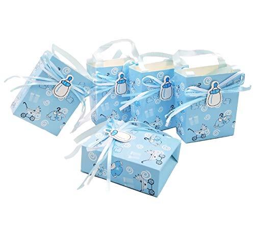 JZK 24 x Azul Baby Shower Bolsa Favor niño Bolsa Dulce Mini Fiesta Bolsa Papel para bebé niño Fiesta cumpleaños Bautizo Bautismo Fiesta recién Nacida