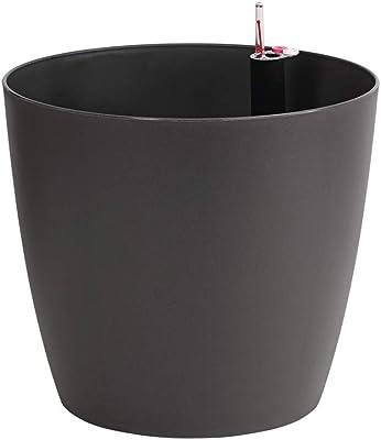 """Dehner - Vaso per piante """"Mila"""" con sistema di autoirrigazione, diametro 30 cm, altezza 26 cm, in plastica, colore antracite"""
