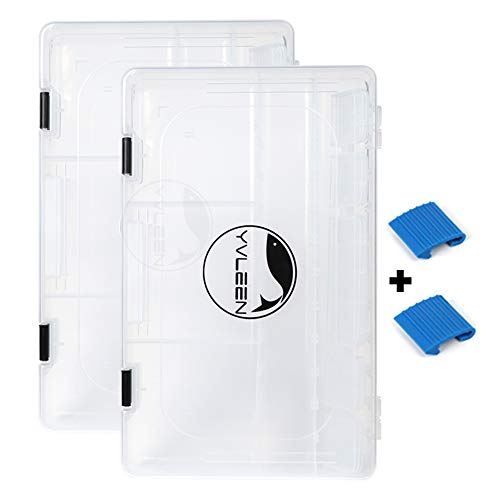 YVLEEN Fishing Tackle Boxes - 3600 3700 Tackle Box Plastic Storage Organizer Box with Removable Dividers - 2packs 4packs Tackle Trays - Included 2pcs of Extra Clip