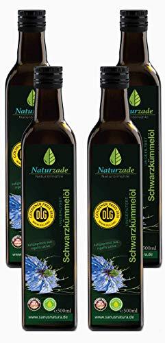 Naturzade Schwarzkümmelöl 2 Liter Ungefiltert Glasflasche ( 4 x 500ml ), kaltgepresst, direkt vom Hersteller