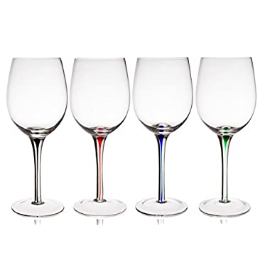 Trinkware Set of 4 Wine Glasses With Raindrop Stem in Red, Green, Blue And Black – Crystal Clear, 20oz, 9-inches Tall – Elegant Glassware And Stemware