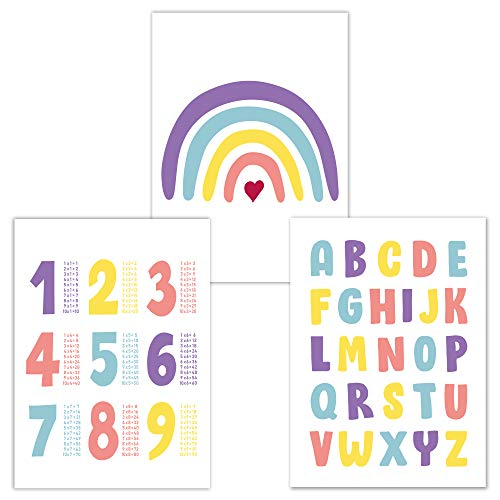 Juego de 3 Cuadros Infantiles, Poster Abecedario, Tablas Multiplicar, Arcoiris, ideales para decorar una habitación infantil o de bebé de un niño o de una niña, DINA4