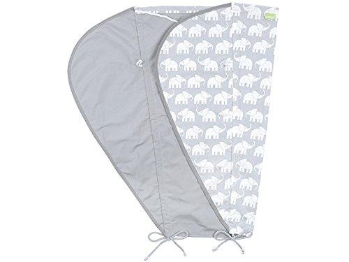 Priebes Sonnensegel Johanna UV Schutz 50+ | Sonnendach mit Seitenschutz | Universal Sonnenschutz | Sonnensegel für Kinderwagen & Buggy, Design:elefanten grau