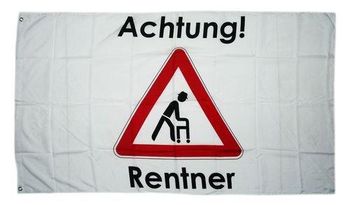 Fahne/Flagge Achtung Rentner 90 x 150 cm
