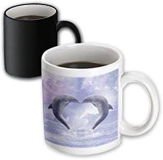 3dRose 172927_3 Two Kissing Dolphins Forming A Heart In A Purple Ocean Magic Transforming Mug, 11 oz