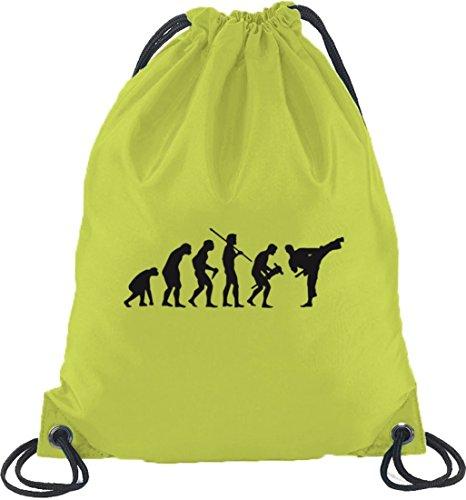 Shirtstreet24, EVOLUTION JUDO, Kampfsport Karate Turnbeutel Rucksack Sport Beutel, Größe: onesize,Limone
