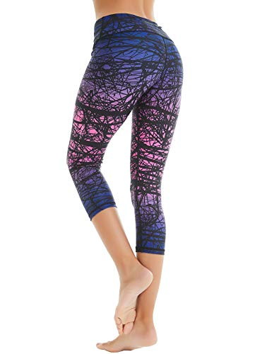 COOLOMG Damen Sport Leggings Yoga Hose Caprihose Fitnesshose 3/4 Sporthose Zweig_lila M