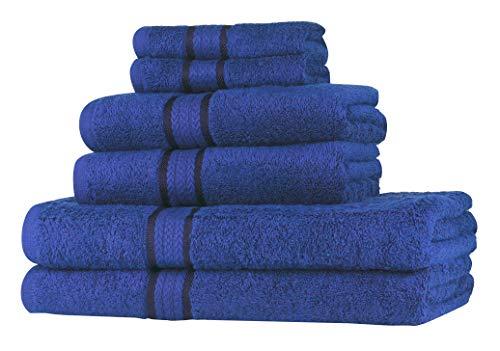 Juego de toallas SweetNeedle de 6 piezas, azul real, 100% algodón hilado en anillos, 2 toallas de baño grandes de 70 x 140, 2 toallas de mano de 50 x 90, 2 paños de lavado de 30 x 30 cm
