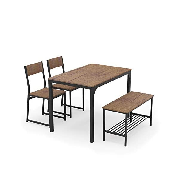 Teraves Dining Table Set for 4/Computer Desk,Kitchen Table with 2 Chairs and a Bench,Table...