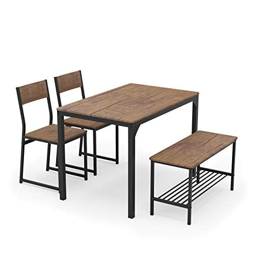 Teraves Dining Table Set for 4/Computer Desk,Kitchen Table with 2 Chairs and a Bench,Table and Chairs Dining Set 4 Picce Set for Dining Room