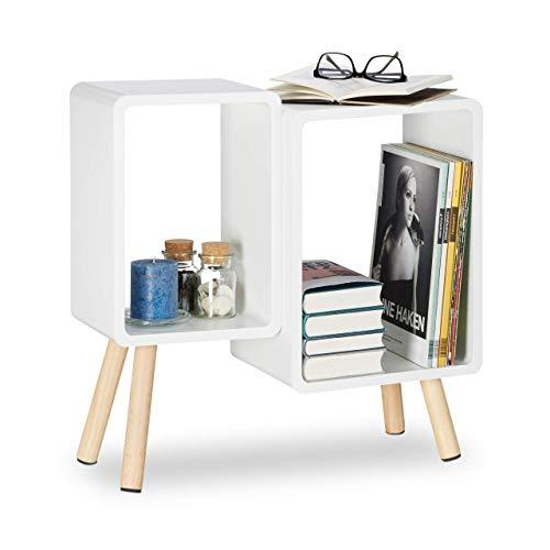 Relaxdays Würfelregal 2 Fächer, Retro Cubes mit Holzbeinen, dekorativer Beistelltisch, Holzregal HBT 55,5x55x24 cm, weiß