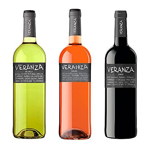 Pack x3 Veranza - (Vino Tinto + Vino Blanco + Vino Rosado) - 3 x 75cl