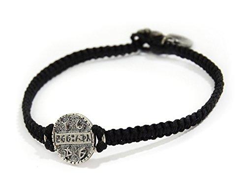 Mizze Made For Luck Jewelry Hombres de tejido a mano negro pulsera para la salud por MIZZE–resistente y duradero con moneda de plata amuleto