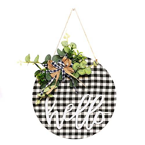 ISAKEN Corona De Bienvenida Delantera, Puerta DiseñO De Bienvenida Tela A del Hogar Artificial ArtesaníA De Madera Puerta para Navidad, Restaurante, Granja, Porche