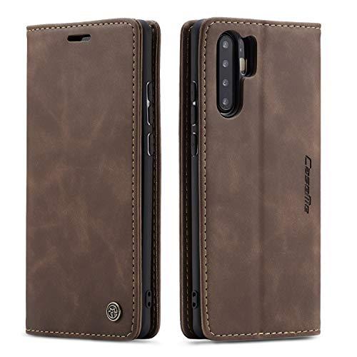 QLTYPRI Hülle für Huawei P30 Pro, Vintage Dünne Handyhülle mit Kartenfach Geldtasche Standfunktion PU Ledertasche TPU Bumper Flip Schutzhülle Kompatibel mit Huawei P30 Pro - Kaffee Braun