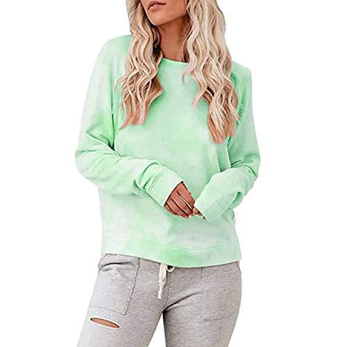 Shirt Damen T Shirt Damen Rundhals Regenbogenfarben Langarm Lose T-Shirt Bequemes All-Match-Temperament Elegantes Süßes Damenoberteil G-Green XL
