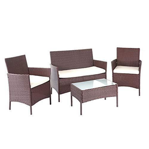 Mendler Poly-Rattan Garten-Garnitur HWC-D82, Sitzgruppe Lounge-Set ~ braun-meliert mit Kissen Creme