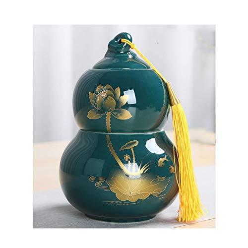 L-Urne für Asche Cremation Urne Keramische Feuerbestattung Box Mini Kürbis Form Doppelschicht Raum for Erwachsene oder Haustiere Asche Familie Andenken Aktie zu speichern (Color : Green)