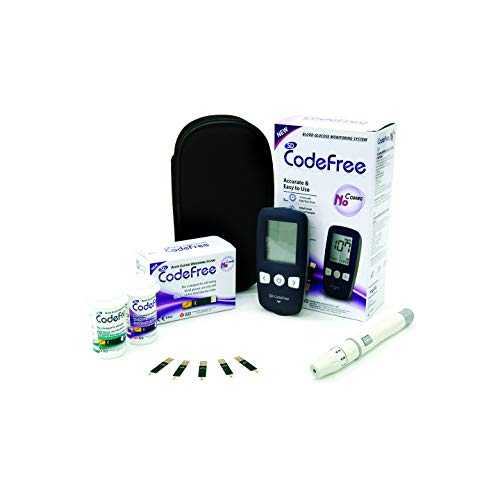 SD Codefree Glucometro Lector Medidor de niveles de glucosa y azucar en Sangre Kit de control de la Diabetes y la Glucemia en mg/dL - Incluye 10 tiras y estuche