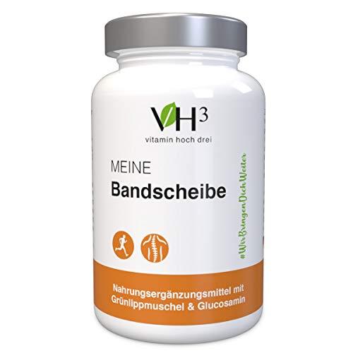 VH3 Meine Bandscheibe Grünlippmuschel hochdosiert mit Glucosamin und Kollagen - 60 Kapseln - Premium Qualität - Made in Germany - Ohne Zusatzstoffe - Labor geprüft